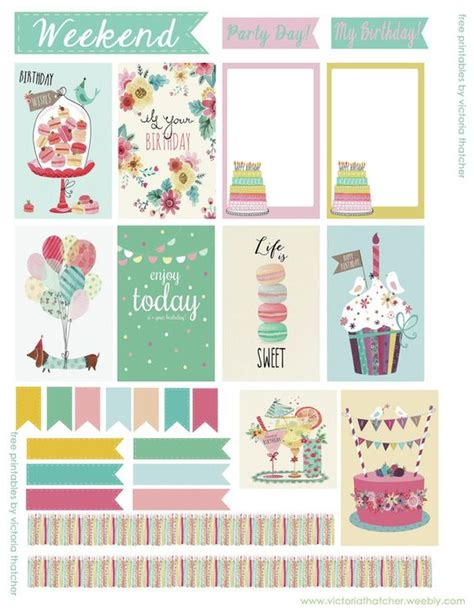 free printable stickers happy planner free birthday planner by victoria thatcher free planner