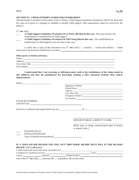 florida family law section florida child support guidelines worksheet lesupercoin