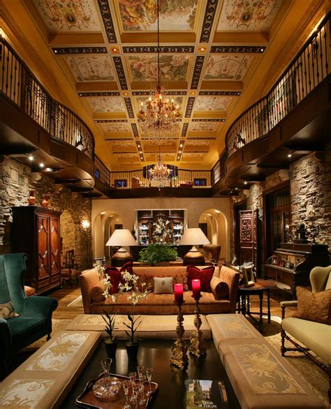 hdg design home group elaborate beams surround stunning frescoes in this grand