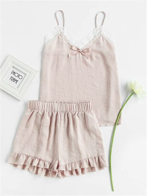 Bow Lace Trim lace trim bow detail cami and ruffle shorts pajama set