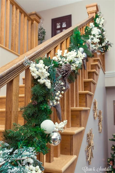 garland for stair banister how to hang a garland on the stairs clean and scentsible