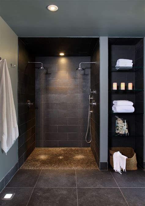 curbless bathroom showers curbless shower with small rock looking floor shower indoor pebble floor