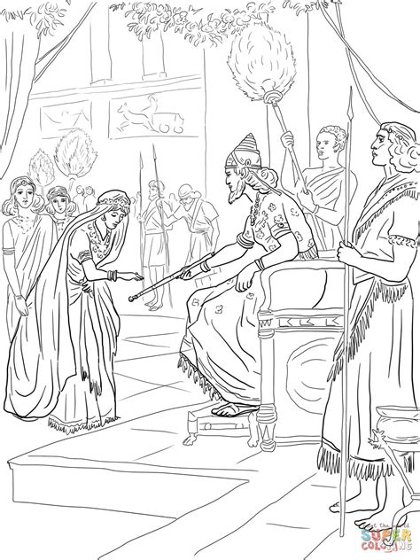 coloring pages esther queen bible esther and king xerxes coloring page free printable