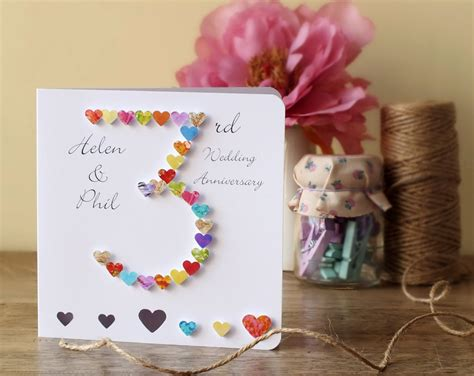 3rd wedding anniversary card uk 3rd wedding anniversary card handmade personalised
