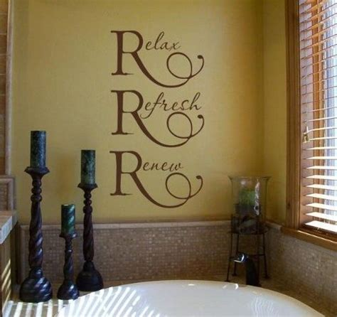 bathroom wall art sayings relax refresh renew wall quote vinyl lettering for the