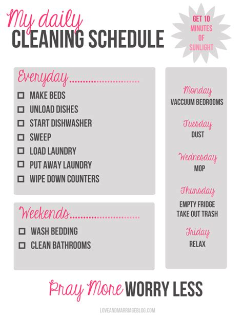 my daily cleaning schedule a free printable and