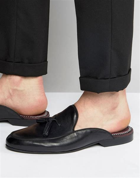 house of hounds house of hounds backless leather loafers in black for men lyst