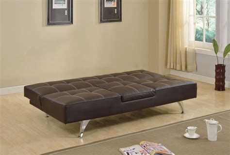 hidden sofa bed derby brown pu adjustable sofa bed futon with hidden table