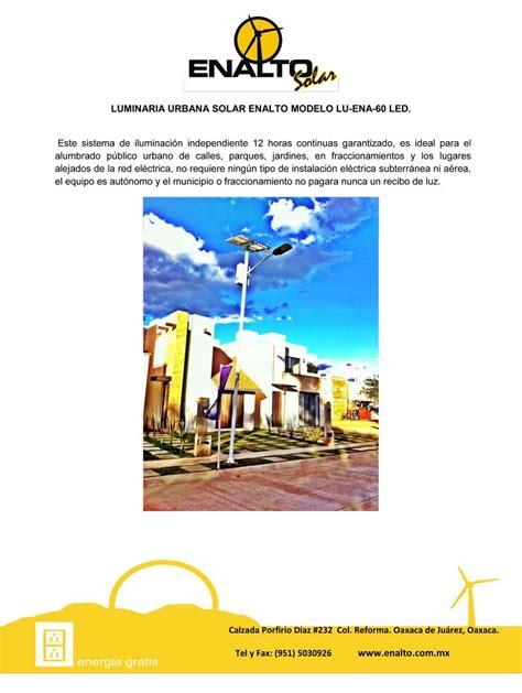 Lu Sorot 60 Led 75cm luminaria urbana solar enalto modelo lu ena 60 led enalto energ 237 a solar oaxaca m 233 xico