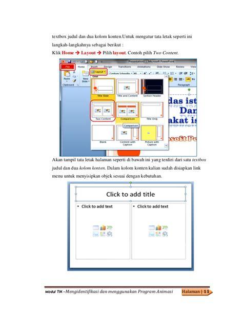 mengatur tata letak layout dokumen modul 27 mengidentifikasi dan menggunakan program animasi