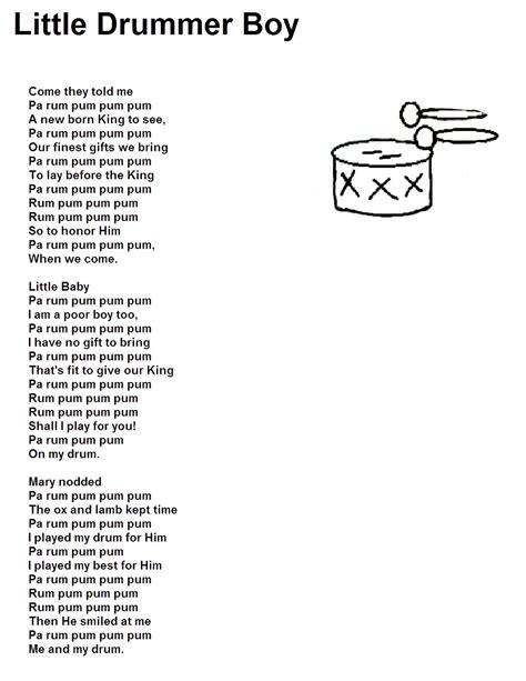 Printable Lyrics For The Little Drummer Boy   little drummer boy