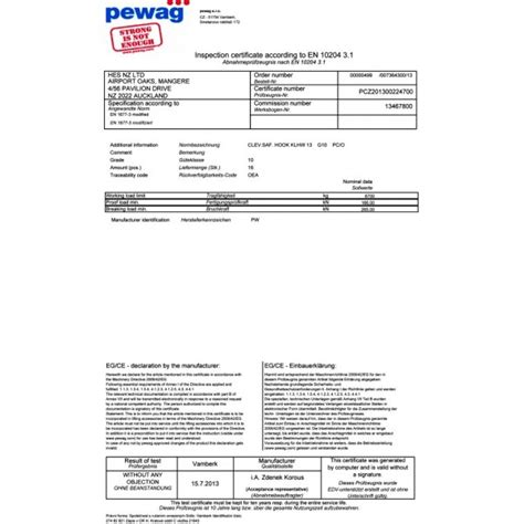 Certificate Records Nz Pewag Certificates Product Certificates Hes Nz Ltd
