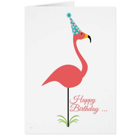 pink lawn flamingo happy birthday to person card