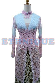 Batik Rok Blus Princes Kencana Sogan blue tosca with peplum catalog kebaya blue and peplum