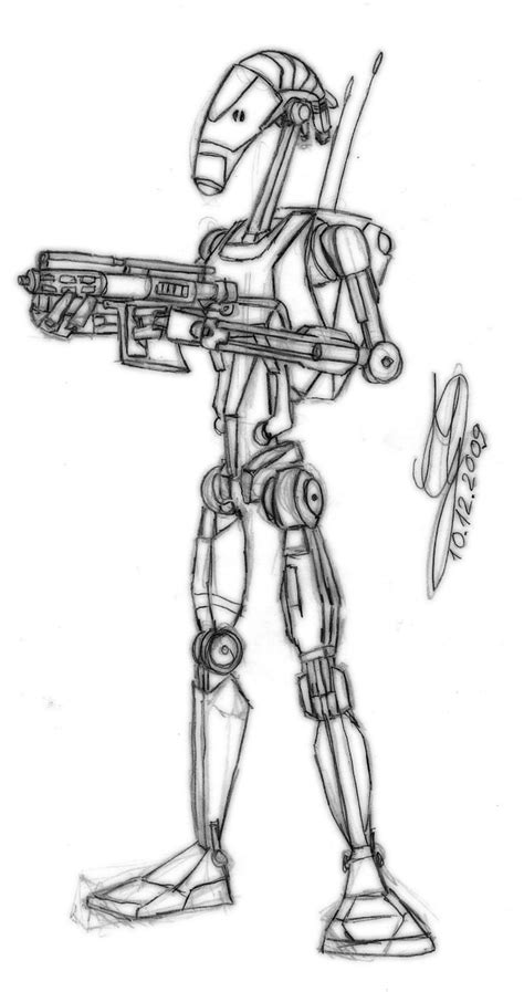 star wars droid coloring page battle droid by gruszkens on deviantart