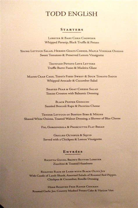 dinner starters menu qm2 todd dinner menu