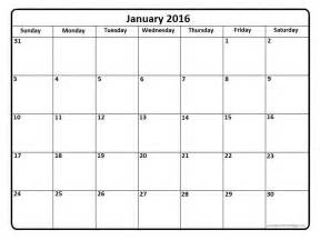 Free calendar 2016 printable one page calendar template 2016