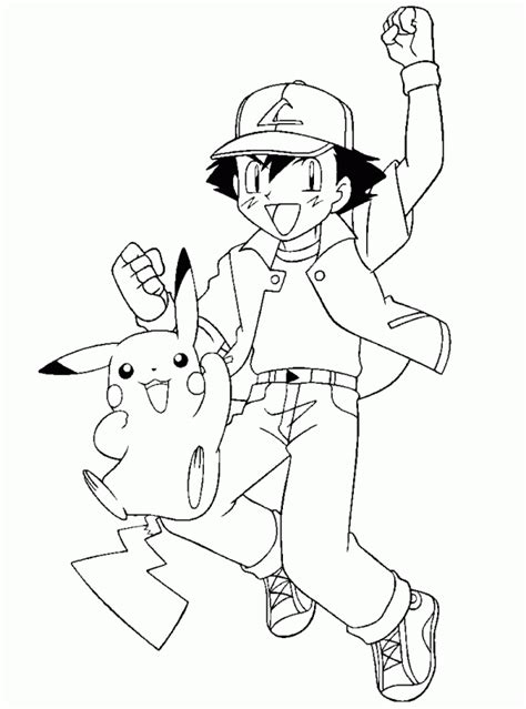 Printable Pikachu Coloring Pages Coloring Me Ash And Pikachu Coloring Pages
