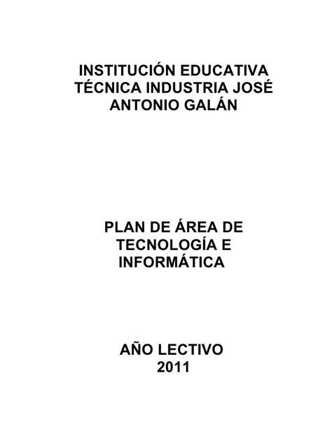 plan de area tecnologia e informatica plan de 225 rea tecnolog 237 a