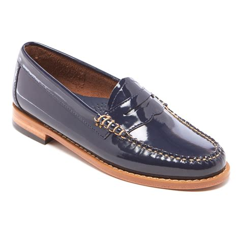 navy leather loafers bass weejuns s wheel patent leather loafers