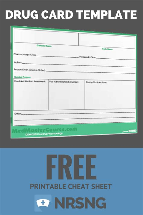medication card template free printable sheet card template nursing