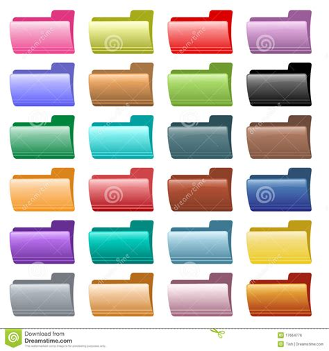 assorted colors web folder icons assorted colors stock vector