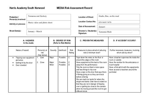 student risk assessment template risk assessment template