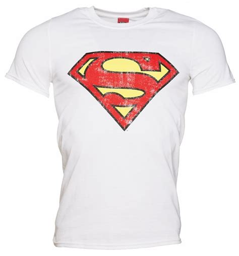 s white distressed superman logo t shirt