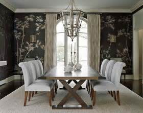 Black chinoiserie wallpaper in a transitional dining room