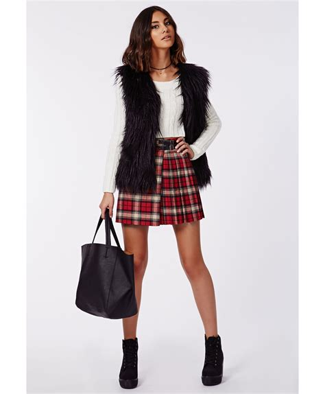 Tartan Ruffle Jumpsuit Size S missguided mandi pleated tartan skater skirt in lyst