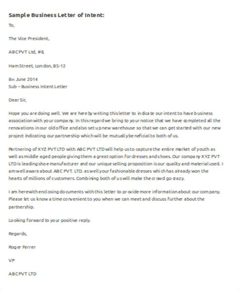 template for business letter of intent sle business letter template word 7 exles in word