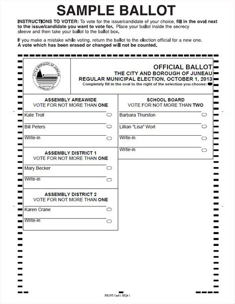 election ballot template election dates