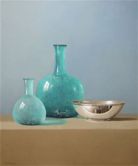 Blue Glass Vases And Bowls Two Blue Glass Vases And A Silver Bowl By Tony De Wolf