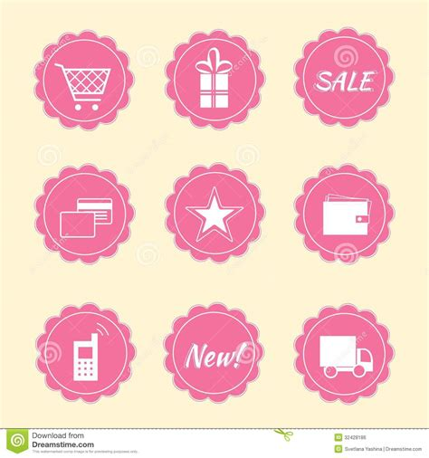 Pink By Z Shop set of shop icons stock photo image of retro