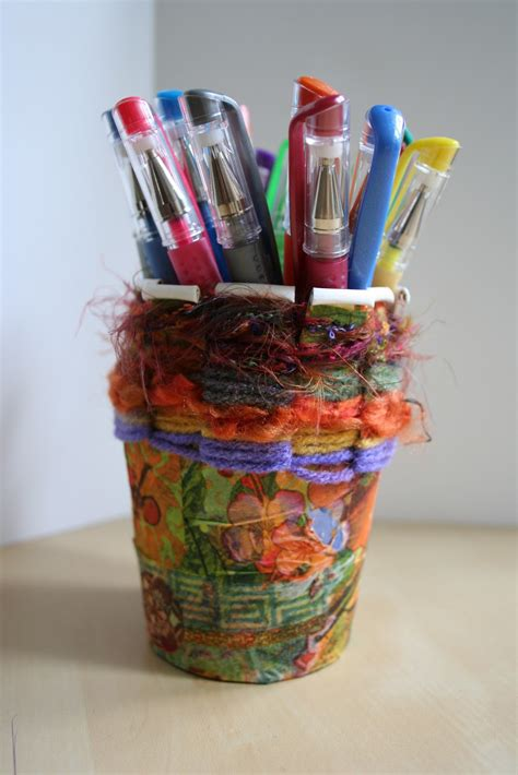 Craft Work With Paper Cups - pink and green recycle craft paper cup weaving