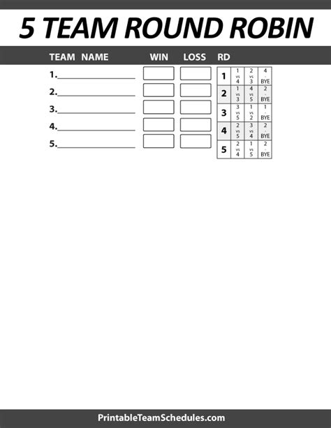 5 team league schedule template printable 5 team robin bracket