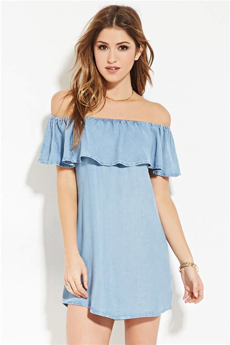 Dres Offshoulder lyst forever 21 chambray the shoulder dress in blue