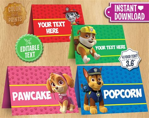 Paw Patrol Label Handuk Souvenir paw patrol table tents instant customizable food tent printable cards favors