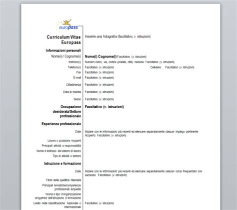 Curriculum Vitae Italiano by Curriculum Vitae Europass Download