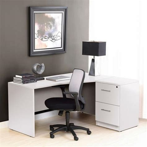 Computer Desk San Antonio Premium Corner Desk In White With Included File Cabinet Computerdesk