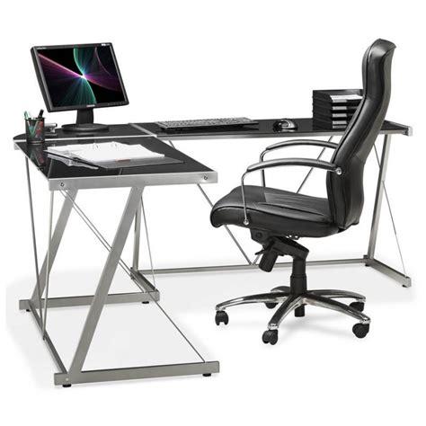 bureau d angle verre bureau d angle design rovigo en verre et m 233 tal noir