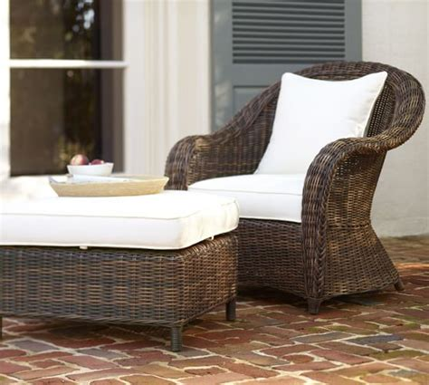 pottery barn wicker chair and ottoman torrey all weather wicker occasional chair ottoman