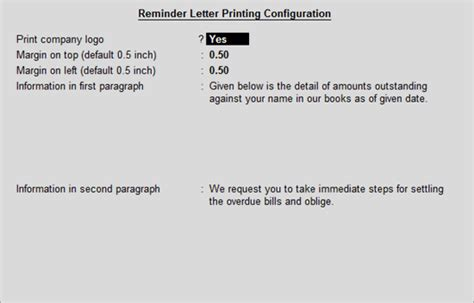 Payment Reminder Letter In Tally Erp 9 Configuring And Printing Reminder Letters