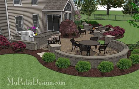 large patio design ideas large paver patio design with grill station seat walls