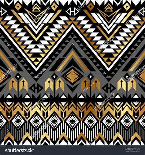 gold aztec pattern tribal navajo ornamental seamless pattern aztec stock