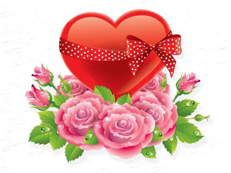 love you heart and roses valentine s day rose love heart vector graphics art