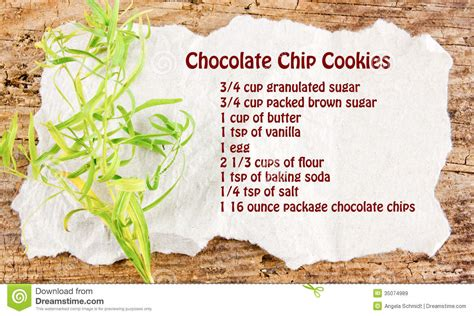 Paper Recipe - chocolate chip cookies recipe royalty free stock images