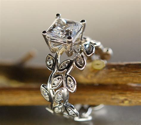 Handmade Ring Designs - princess cut moissanite leaf ring leaf engagement ring set