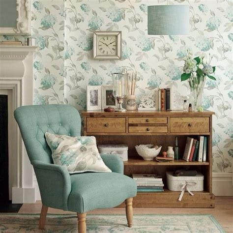 Floral Blue Living Room Blue Decorating Ideas by Wallpaper A Choice For Living Room
