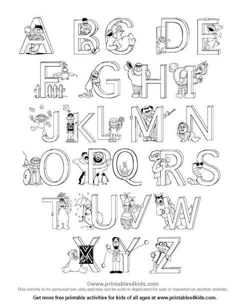 coloring pages for alphabet free sesame alphabet coloring page printables for